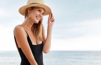 Pleasant looking young female model in bikini.
