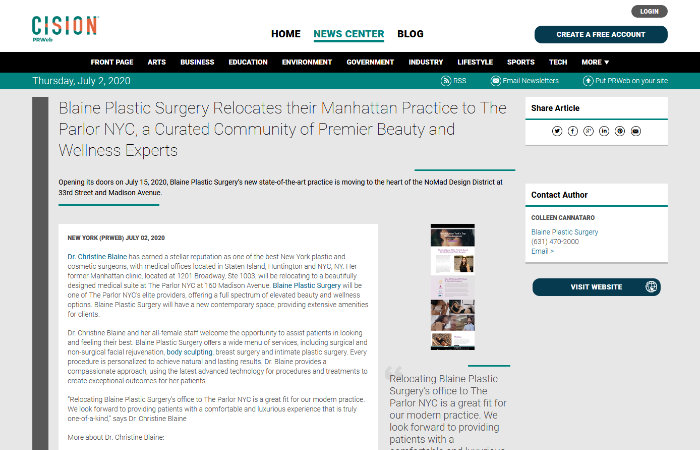 screenshot of the linked article 'Blaine Plastic Surgery Relocates their Manhattan Practice to The Parlor NYC, a Curated Community of Premier Beauty and Wellness Experts'