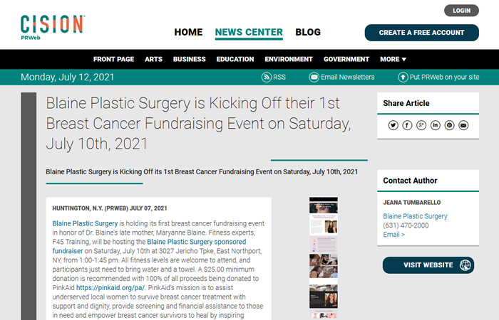 screenshot of the linked article 'Blaine Plastic Surgery is Kicking Off their 1st Breast Cancer Fundraising Event on Saturday, July 10th, 2021'